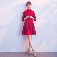 新娘敬酒服红色中长款2018新款秋冬中式小礼服女结婚旗袍婚礼短款