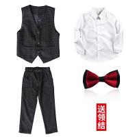男童西装套装儿童西服套装小西装男童西装花童礼服韩版中大童男孩2018新款马甲MYZQ59
