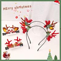 圣诞节鹿角发箍发夹可爱少女麋鹿角头饰刘海夹子bb夹发卡