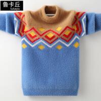 儿童针织衫韩版中大童打底衫冬季男童套头加绒加厚毛衣