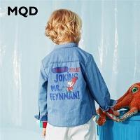 【2件3折:138】MQD童装男童长袖衬衫2020春秋新款中大儿童韩版大图案牛仔衬衣潮