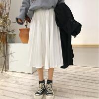 P767 百褶裙子�凸�W生秋冬女2018新款中�L款白色半身裙 白色 均�a