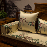 中式刺绣红木沙发坐垫实木古典家具罗汉床垫海绵防滑圈椅靠垫抱枕