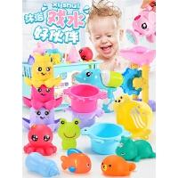 宝宝男孩女孩小黄鸭捏捏叫儿童浴室戏水套装花洒婴儿洗澡捞鱼玩具