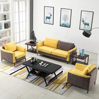 【品牌特惠】现代简约办公沙发可拆洗创意会客室休息区商务接待布艺沙发茶几