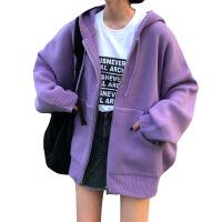 秋冬女装韩版中长款chic加厚慵懒风连帽大口袋针织衫毛衣开衫外套 均码