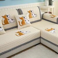 防滑沙发垫布艺田园四季通用实木坐垫夏季简约现代皮沙发巾套订做