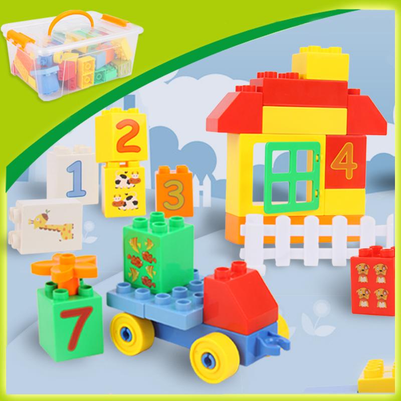 橙爱 乐高式拼装积木 62粒大块桶装益智积木  数字城堡塑料拼插智力玩具 儿童玩具益智玩具限时钜惠