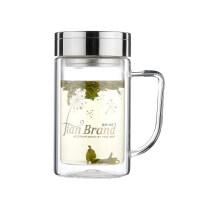 健牌玻璃杯双层隔热男女杯子创意潮流大容量便携泡茶水杯抖音 无色
