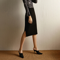 特 伊家 针织半身裙女秋冬中长款包臀侧开叉后开叉一步裙 25652 均码