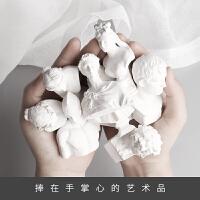 石膏几何体模型 树脂小石膏像10个装迷你摆件素描石膏头像模型几何体美术雕像装饰素描石膏像B