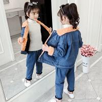 2019秋冬季新款牛仔加绒加厚童装中大童女孩两件套女童套装