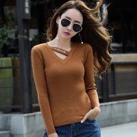 毛衣女新款秋季小心机V领打底衫韩版修身显瘦长袖针织毛线衣