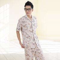 金丰田夏季男士短袖休闲睡衣家居服套装1743