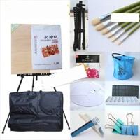 水彩/36色水粉画笔颜料套装伸缩画架画架画板画袋套装