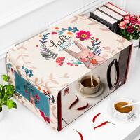 棉麻盖巾格兰仕美的微波炉罩布艺防尘罩子烤箱防水防油套卡通盖布 灰色 鲜花兔 35CM *95CM