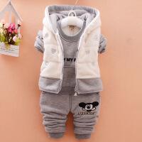 男童装秋冬款三件套装婴儿童加绒加厚女宝宝冬装0-1-2-3-4岁棉衣
