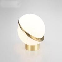精美护眼时尚后现代简约客厅玻璃月球台灯创意设计师样品房床头卧室LED护眼灯卧室床头柜台灯 按钮开