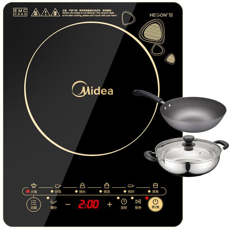 【当当自营】Midea美的电磁炉WK2102T【货到付款】支持礼品卡 防滑触摸屏 爆炒大火力 4D防水面板 内附汤锅、炒锅