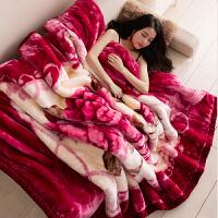 拉舍尔毛毯加厚双层 冬季盖毯婚庆大红喜毯珊瑚绒毯子绣花云毯