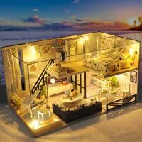 手工diy小屋材料木质三室两厅木质小屋拼装房子模型diy手工材料包建筑玻璃屋