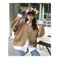 秋冬女装新款学生宽松假两件衬衫时尚长袖拼接卫衣休闲外套潮 160/84A