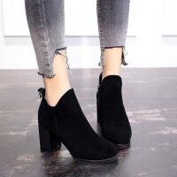 新款秋冬鞋子女切尔西短靴女冬加绒马丁靴粗跟高跟磨砂棉靴子