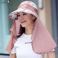 帽子女夏天遮阳帽可折叠户外运动护脖遮脸大檐防晒太阳帽