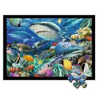 木质拼图300/500/1000片成年人减压大型儿童益智玩具海底世界鱼群