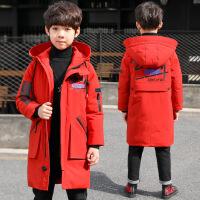 儿童装男童冬装棉衣外套新款8中大童9男孩中长款韩版15岁 红色 120cm