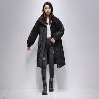 高梵长款羽绒服女2021年秋冬新款时尚简约潮流百搭宽松加厚显瘦羽绒外套