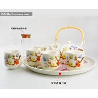 【新品】 景德镇陶瓷功夫茶具套装整套茶壶杯7头浮雕家庭茶具