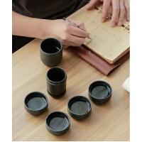 【新品�豳u】父�H��Y物�敉饴眯胁杈弑�y式功夫茶具黑陶茶杯紫砂茶杯一�厮谋�