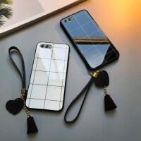 华为nova2s手机壳玻璃格子nova3流苏nova2plus简约情侣nova4e防摔