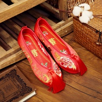 新款老北京新娘鞋手工绣花婚鞋红色秀禾鞋子千层底中式平底跟布鞋 布底 鸾凤和鸣-流苏 送喜字鞋垫