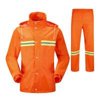 雨衣雨裤套装 雨衣雨裤套装环卫工人防水长袖服装双层加厚分体反光工作雨披 桔红色