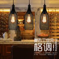 铁丝网酒瓶酒吧咖啡厅工程装饰灯具欧式简约餐厅吧台吊灯 铁丝网酒瓶酒