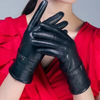 手套女式羊皮保暖加厚加绒薄海宁冬季骑车韩版分指女士皮手套