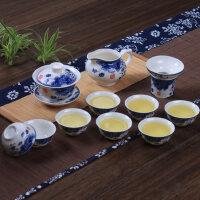 青花瓷茶具套装家用整套陶瓷功夫茶具德化白瓷泡茶器盖碗茶杯礼品