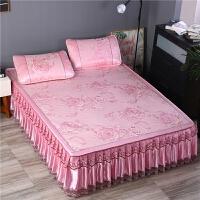 冰丝凉席三件套夏季床裙款冰丝席1.5米1.8m床可折叠凉席蚕丝席子
