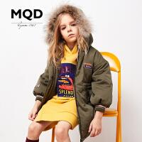 MQD童装女童加厚2019冬装新中长款大毛领儿童大毛领保