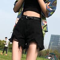 黑色牛仔短裤女夏2020年新款潮ins宽松破洞高腰显瘦超短外穿热裤