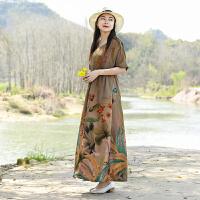 夏季连衣裙中国风收腰显瘦大码长裙短袖v领民族风复古棉麻大摆裙
