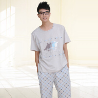 夏季男士短袖睡衣 针织夏天男款休闲利发国际lifa88服套装1569