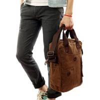 竖款商务韩版男包 休闲单肩包纯棉帆布包斜挎包 男士包包
