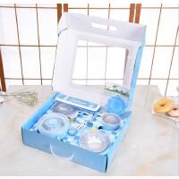 宝宝不锈钢保温饭碗套装婴儿学习筷练习筷叉勺儿童餐具礼盒装