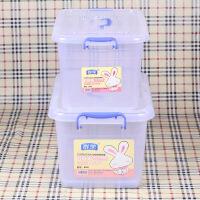 小型收纳箱 箱子大号收纳箱储物箱中号小型装书贮物收纳盒存物箱B 透明