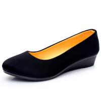 新款老北京布鞋女鞋单鞋坡跟套脚工作鞋职业舒适黑色布鞋 黑色