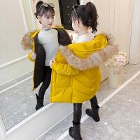 女童洋气棉衣秋冬2018新款韩版时尚中大童冬装儿童加厚棉袄中长款