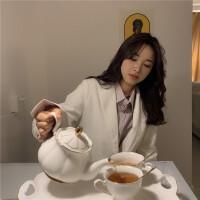 2019春季韩国修身显瘦灯芯绒复古小西装女装中长款休闲西服外套女